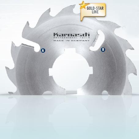 Hartmetall-bestücktes Kreissägeblatt, Vielblatt mit Räumerschneiden 450x4,4/3,2x70mm 28 FZ+R - 2xA