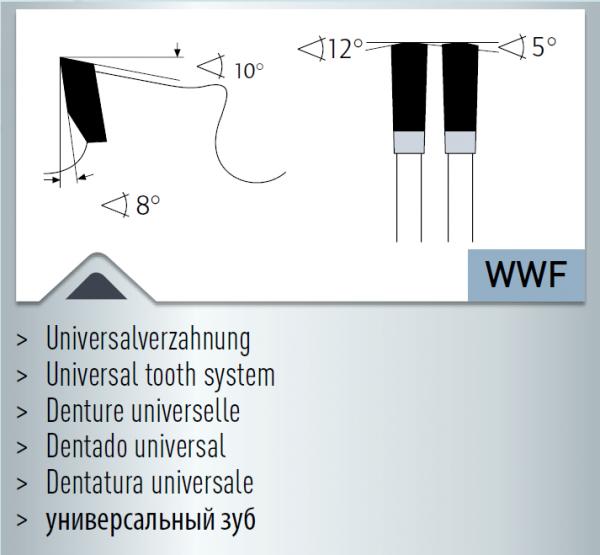 Hartmetall-bestücktes Kreissägeblatt, Dry-Cutter Baustähle 355x2,2/1,8x25,4mm 90 WWF - NL: 1-12-5